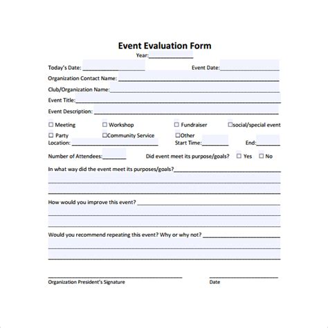 event evaluation sle 9 documents in pdf word excel