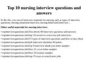 Behavioral Questions For Nurses And Answers top 10 nursing questions and answers