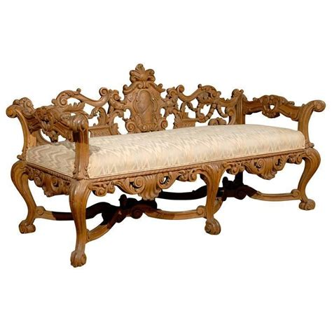 Wood Bench With Upholstered Seat Late 19th Century Richly Carved Italian Wooden Bench With