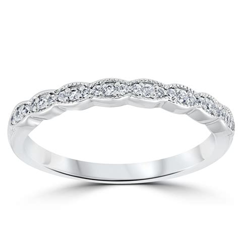cttw diamond stackable womens wedding ring  white gold