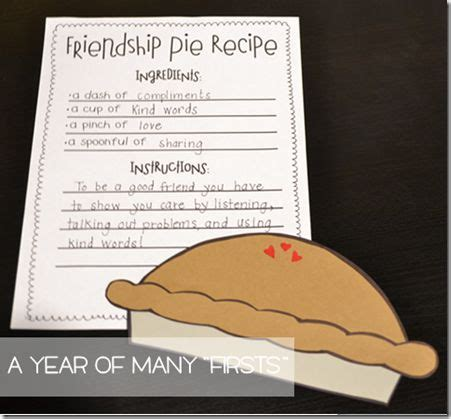 recipe for friendship template after reading quot enemy pie quot your students write a