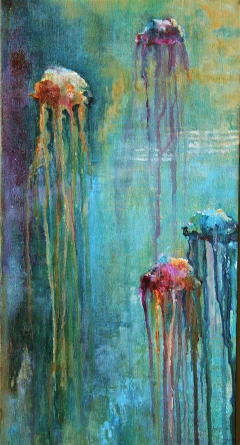 acrylic painting jellyfish jellyfish acrylic on canvas beautiful