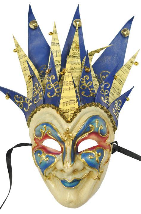 A Paper Mache Mask - mardi gras masquerade jester musica paper mache mask blue