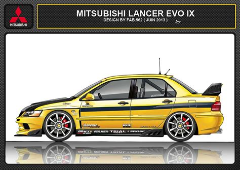 mitsubishi evo drawing mitsubishi lancer evo 9 cars illustration modified