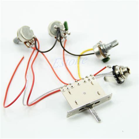 useful guitar wiring harness 1v2t 5 way switch 500k pots for fender strat ebay
