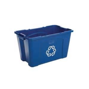 home depot light recycling rubbermaid commercial products 18 gal blue recycling bin