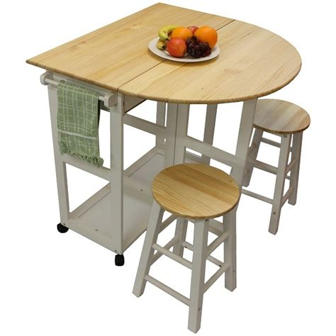 Kitchen Table And Bar Stools White Pine Wood Breakfast Bar Folding Kitchen Table And Stool Set New Ebay