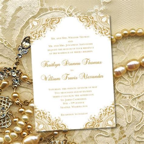Wedding Anniversary Card Editable by Gold Quot Vintage Quot Wedding Invitations Or 50th Wedding