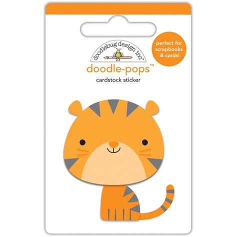doodlebug hours at the zoo tiger 3d stickers