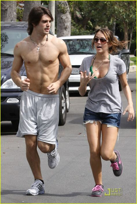 full sized photo of miley cyrus justin gaston jogging
