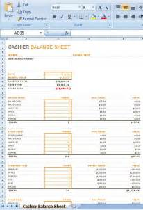 Drawer Balance Sheet Template by Drawer Count Sheet Excel Sle Ms Excel Cashier