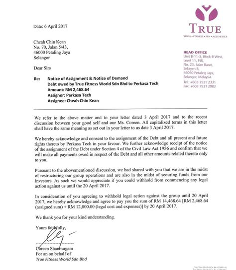Demand Letter Malaysia who is rushing to wind true fitness up burgielaw