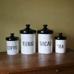 Vintage Ceramic Kitchen Canisters by Vintage Black And White Ceramic Canister Set Holiday Designs