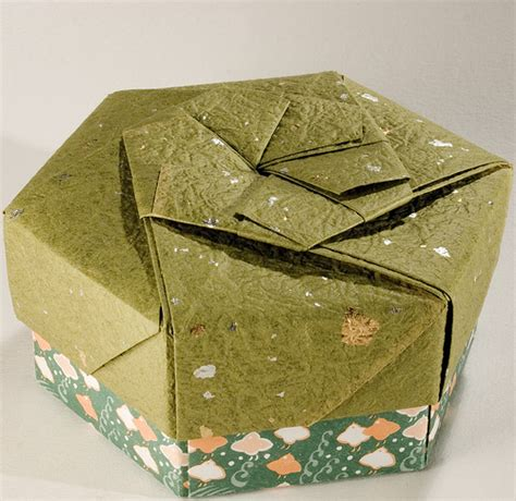 Hexagonal Origami Gift Box - decorative hexagonal origami gift box with lid 11