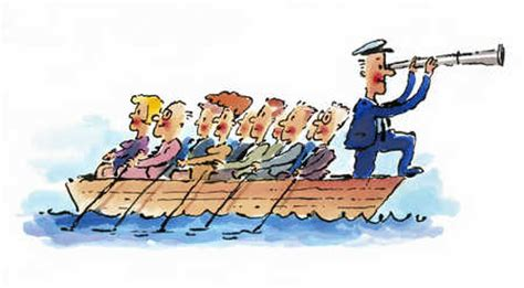 cartoon rowing boat management stock illustration people rowing boat man at bow with