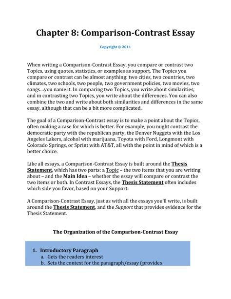 Compare Contrast Sle Essay writing a compare contrast essay