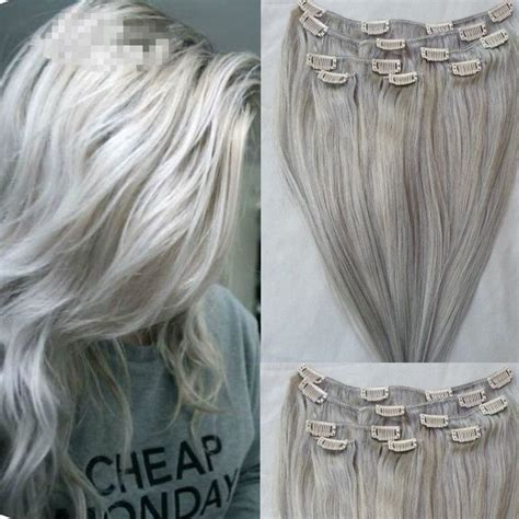 clip in hair extensions quality human hair wefts buy remy clip in human hair extensions silver grey clip in