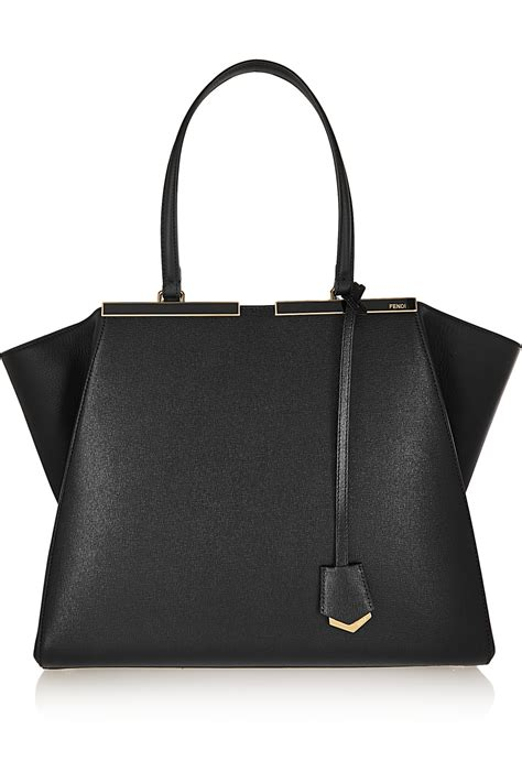 fendi 3jours medium textured leather tote in black lyst