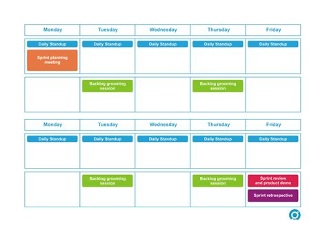 Bi Weekly Sprint Scrum Calendar Greg Patricio Sprint Schedule Template