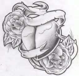 Heart with ribbon tattoo designs tattoo design new heart nroses
