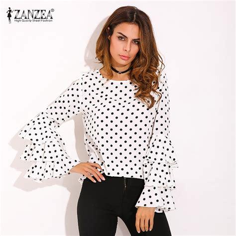 01 Sleeves Neck Hitam plus size zanzea womens polka dot ruffle flouncing flare sleeves o neck blouse fashion