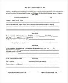 Work Order Maintenance Request Form Template by Doc 600640 Maintenance Work Order Form Sle