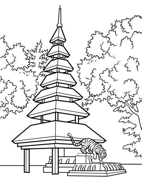 chinese garden coloring pages japanese garden coloring page pagoda cartoon float