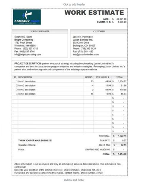 roofing estimate template download free premium