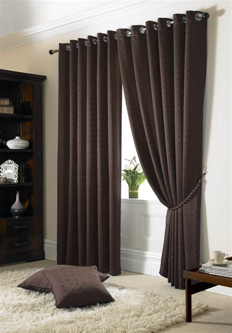 brown check curtains jacquard check brown lined ring top eyelet curtains drapes