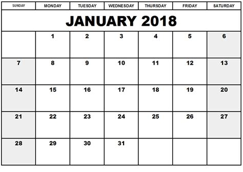 printable calendar for january 2018 free january 2018 printable calendar free printable