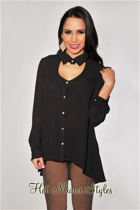 Blouseblack Eky black key neck sleeves blouse