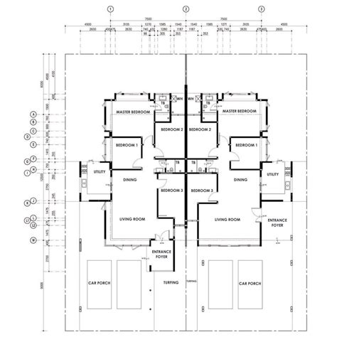 three bedroom semi detached house plan semi detached house plans