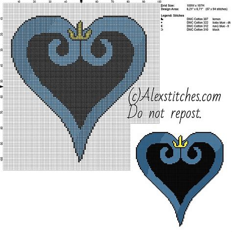 kingdom hearts pattern kingdom hearts symbol free videogames cross stitch pattern