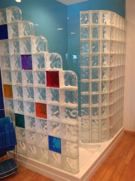 Colored Shower by Colored High Gloss Shower Wall Panels And Glass Block