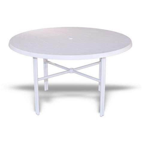 strap  patio dining table  fiberglass top white
