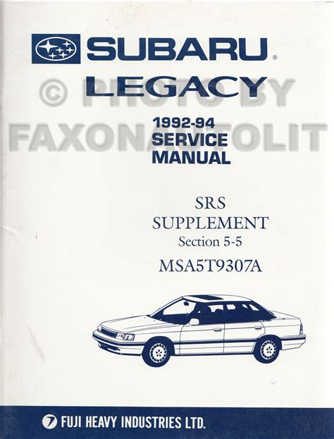 1994 subaru legacy repair shop manual supplement original 1992 subaru legacy abs 2e brakes repair shop manual original supplement