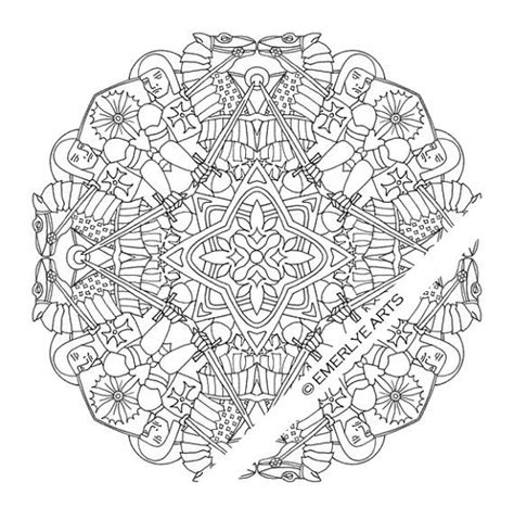 mandalas 4 coloring pages for adults medieval