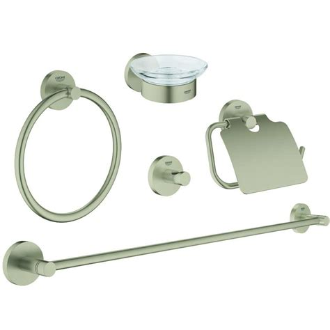 bathroom hardware brushed nickel grohe essentials master bathroom 5 piece bath hardware set