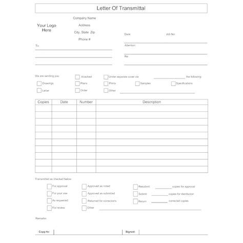 letter transmittal form