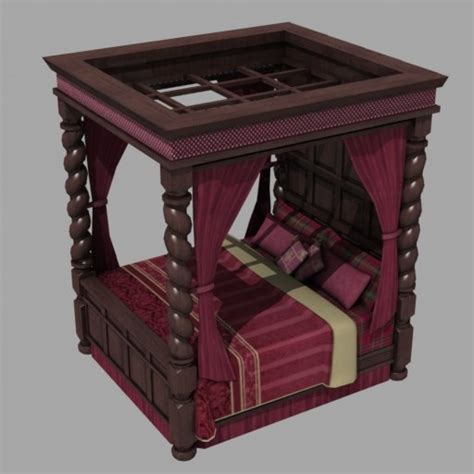 gothic canopy bed gothic canopy bed 3d model