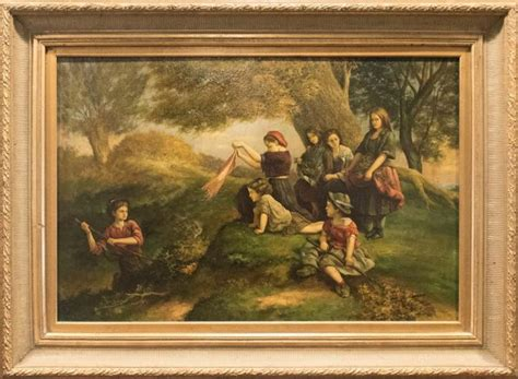 painting play now 19th century painting by david jacobsen landscape scen