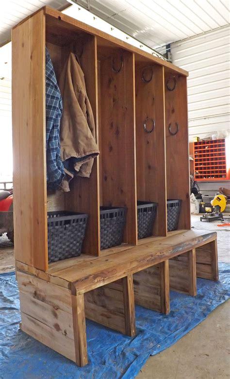 rustic entryway bench diy mudroom makeover project boot storage mudroom and hanger