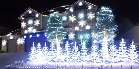 Let it go christmas light display is so cool it will freeze you in