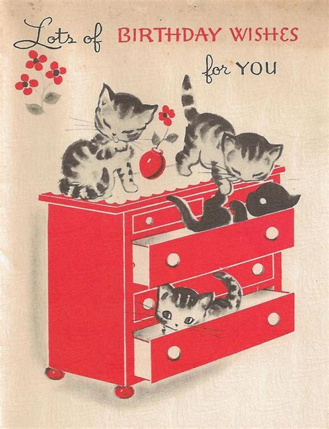 Birthday Cards Pictures Vintage Kittens Birthday Card It S My Cake