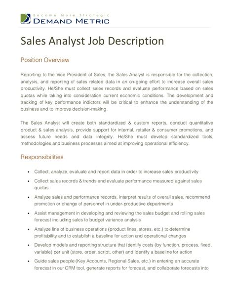 Analyst Duties by Sales Analyst Description