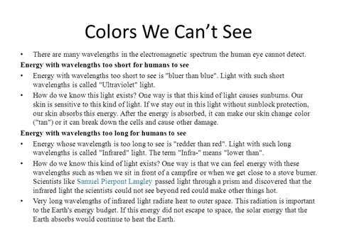 colors we can t see wavelength frequency of color s ppt