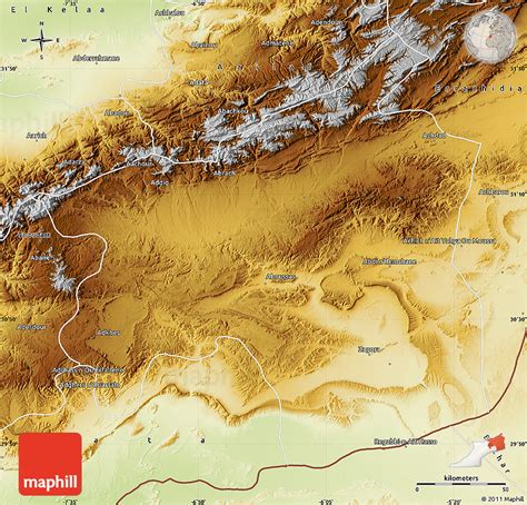 physical map of morocco physical map of ouarzazate