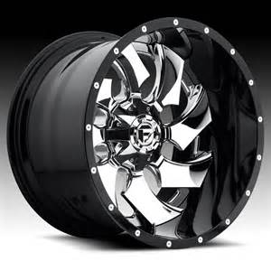 Custom Chrome Truck Wheels Fuel D240 Cleaver 2 Pc Chrome Black Custom Truck Wheels