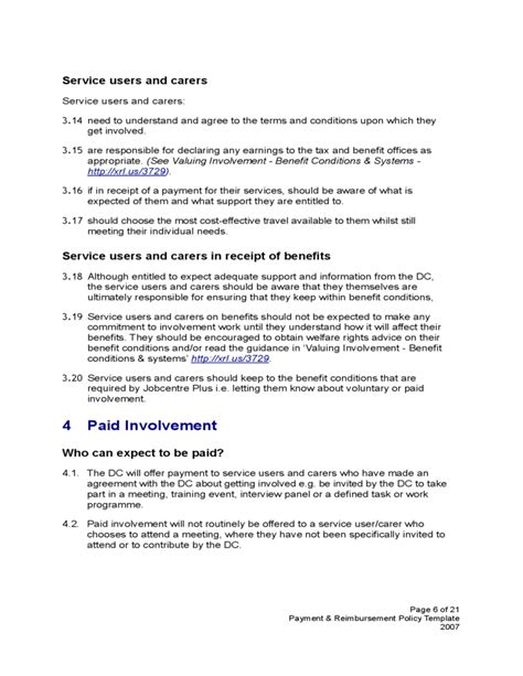 expenses policy template payment and reimbursement policy template free