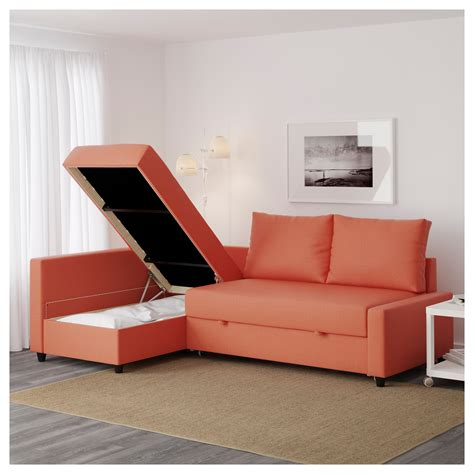 orange ikea couch friheten corner sofa bed with storage skiftebo dark orange
